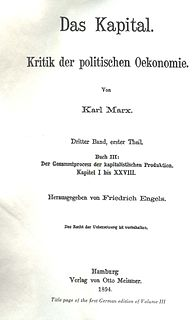 <i>Capital, Volume III</i> book by Karl Marx