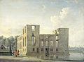 De achterzijde van het slot Berckenrode in Heemstede na de brand Rijksmuseum SK-C-1530.jpeg