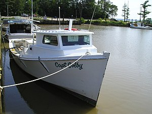 Chesapeake Bay deadrise - Image: Deadrise workboat capt colby bow shot