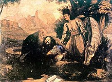 Bearded, dying man under a tree, surrounded by two other men and a horse