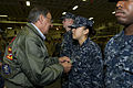 Defense.gov News Photo 120330-D-BW835-468 - Secretary of Defense Leon E. Panetta pins a Navy and Marine Corps achievement medal to a sailor s uniform while on board the USS Peleliu LHA 5 in.jpg