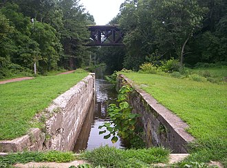 Delaware and Lehigh National Heritage Corridor - A view of the Delaware Canal, with the towpath at left and the rail in the background