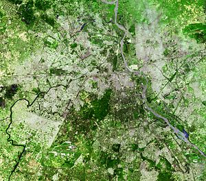 Climate resilience - An aerial view of Dehli, India where urban forests are being developed to improve the weather resistance and climate resilience of the city