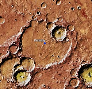 Denning (Martian crater) - Location of Denning Crater