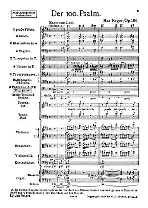 first page of the score of Der 100. Psalm in the first edition of 1909