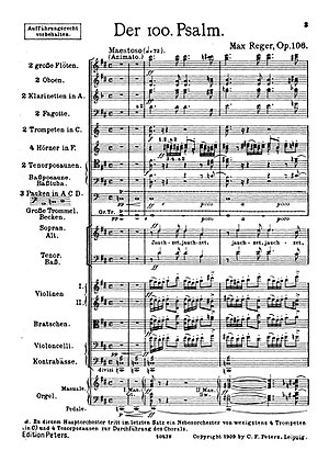 Der 100. Psalm - First page of the score in the first edition, 1909