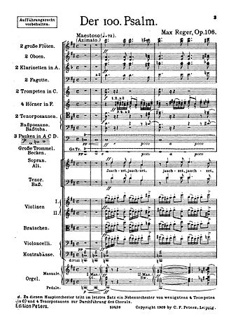 Sheet music - The first page of the full score for Max Reger's Der 100. Psalm for choir, orchestra and organ.
