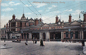 Derby railway station - The Victorian frontage to the station by Charles Trubshaw.