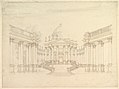 """Design for Stage Set- Centralized Villa with Cupola (""""Villa rotunda"""" Style) and Colonnaded Wings. MET DP820199.jpg"""