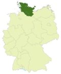 Map of Germany:Position of the Oberliga Hamburg/Schleswig-Holstein highlighted