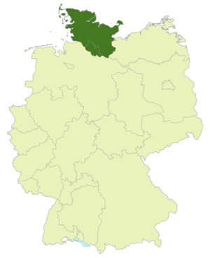 Oberliga Hamburg/Schleswig-Holstein - Map of Germany:Position of the Oberliga Hamburg/Schleswig-Holstein highlighted