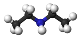 Ball and stick model of diethylamine