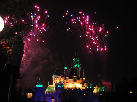 Disneyland fireworks from Sleeping Beauty Castle Disneylandfireworks.jpg