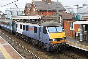 Diss railway station - Image: Diss Greater Anglia 90008