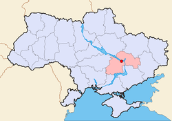Bản đồ Ukraina với tỉnh Dniprodzerzhynsk.