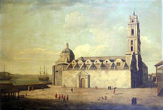 Basilica Menor de San Francisco de Asis - The Basillica in 1762 during the British occupation - painting by Dominic Serres
