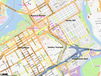 Downtown Ottawa -  Map of the east-end of Downtown Ottawa