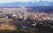 Downtown Spokane WA on approach to the airport