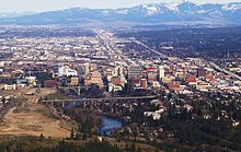 Aerial of downtown Spokane on approach from the airport