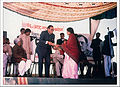 Dr. Kavita Shukla presenting inaugural copy of Kaarigar magazine to then chief minister Motilal Vora in 1986.jpg
