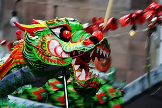 Chinese immigration to Mexico - Dragon dance at the 2008 Spring Festival celebrations in the Barrio Chino of Mexico City.