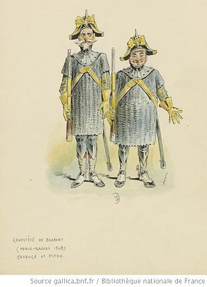 Geneviève de Brabant - Grabuge and Pitou as men-at-arms, Théâtre des Menus-Plaisirs, 1868 (Draner)