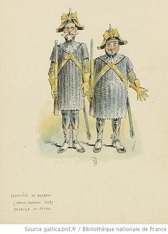 Geneviève de Brabant - Grabuge and Pitou as men-at-arms, Théâtre des Menus-Plaisirs, 1868 (Draner)