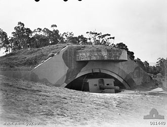 Axis naval activity in Australian waters - Drummond Battery coastal defence gun emplacement near Port Kembla in 1944
