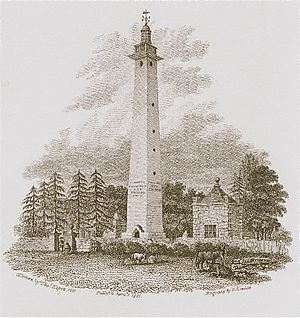 Land lighthouse - The original appearance of Dunston Pillar from Bartholomew Howlett's A Selection of Views in the County of Lincoln (1801)