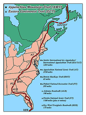 International Appalachian Trail - Image: ECT AMT Route Map