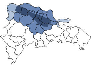 The main Cibao region in dark blue.