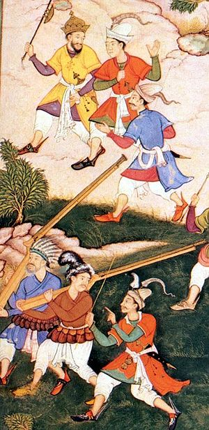 Musket - Early matchlocks as illustrated in the Baburnama (16th century)