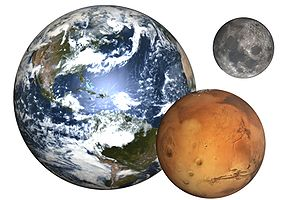 Earth, the Moon and Mars  (Image credit: Wikipedia)