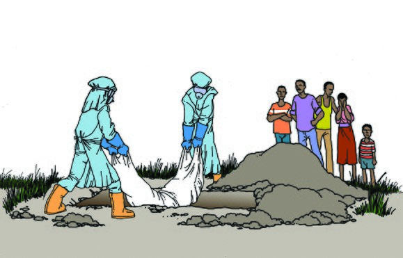 An illustration of safe burial practices Ebola illustration- safe burial (15573264517).jpg