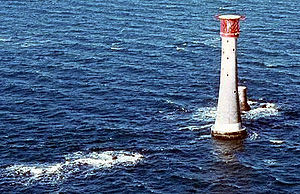 Eddystone Rocks - The Eddystone, with current lighthouse and stub of previous tower.