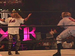 Edge and Christian - Edge (left) and Christian preceded matches with a five-second pose for flash photography where they would often mock their opponents or the location of the event.