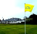 Edzell Gold Club House with flag.JPG
