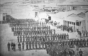 Antofagasta - Battalion No. 3 Line of the Chilean Army, formed in columns in the Plaza Colón of Antofagasta in 1879