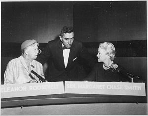 Margaret Chase Smith - Image: Eleanor Roosevelt and Margaret Chase Smith on Face the Nation in Washington Washington, D.C NARA 195998