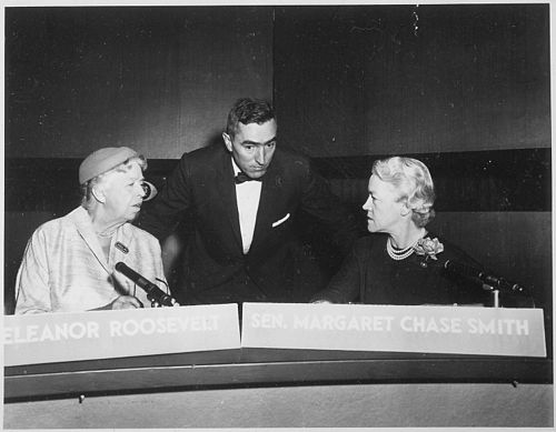 Smith and Eleanor Roosevelt jointly appear as the first-ever women panelists on Face the Nation in 1956. Eleanor Roosevelt and Margaret Chase Smith on Face the Nation in Washington Washington, D.C - NARA - 195998.jpg