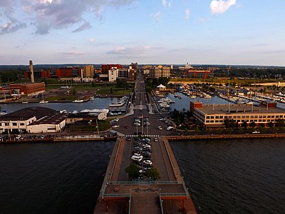erie pennsylvania waterfront and downtown as seen from the top of the bicentennial tower