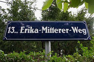 Erika Mitterer - Sign for Erika Mitterer road in Vienna