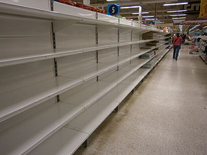 Shortage - A 2014 image of product shortages in Venezuela.