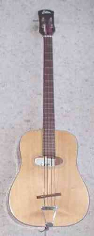 Acoustic bass guitar - Eston acoustic bass guitar with no electric pickup, fretless but with fretlike markers, made in Italy in the 1980s