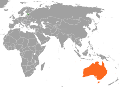 Map indicating locations of Estonia and Australia