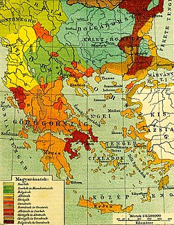 Ethnographic map of the South Balkans, Pallas Nagy Lexikon, 1897.jpg
