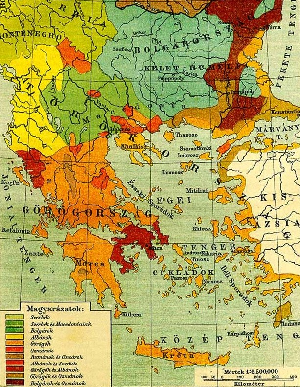 Ethnographic map of the South Balkans, Pallas Nagy Lexikon, 1897