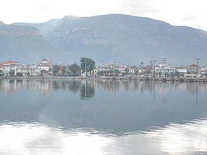 Aitoliko - Image: Etoliko, Etolia Acarnania, Greece View on city with bridges