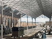 An early print of Euston showing the wrought iron roof of 1837.