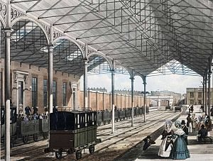 Economic history of the United Kingdom - Euston station in London, 1837. Note the open passenger carriages